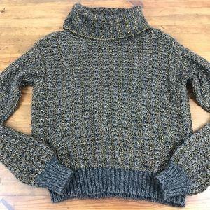 Rachel Roy Gray Gold Turtleneck Sweater Open Knit